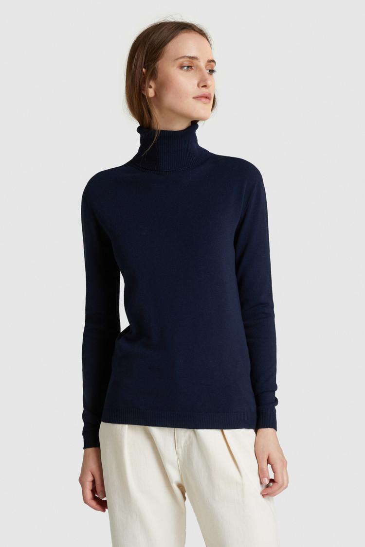 Stretch-Wool Turtleneck Sweater