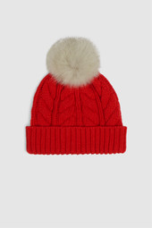 Wool-Blend Beanie With Detachable Pompom