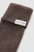Gants en laine vierge côtelée avec logo