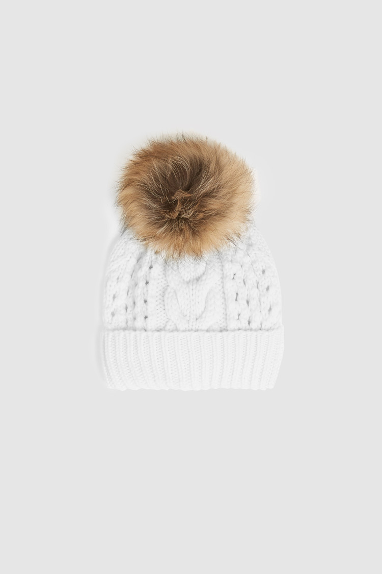Serenity Wool Beanie With Racoon Fur Pompom