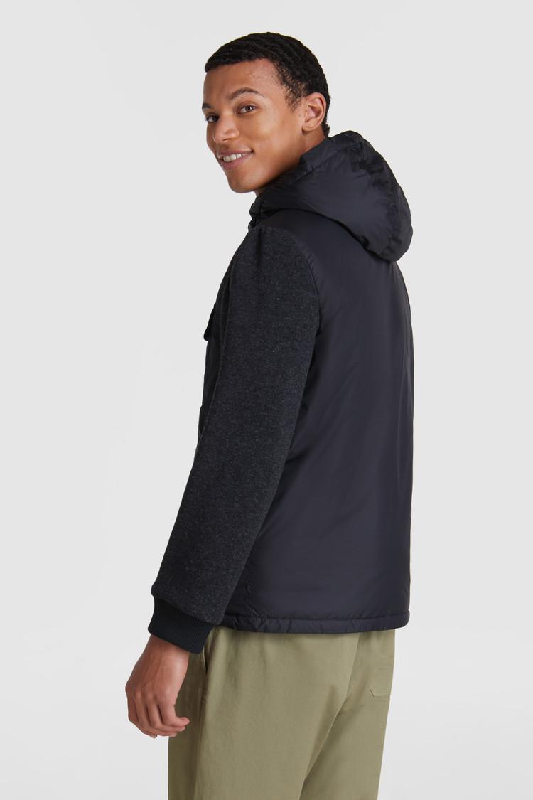 Giacca imbottita con maniche in lana cotone con cappuccio