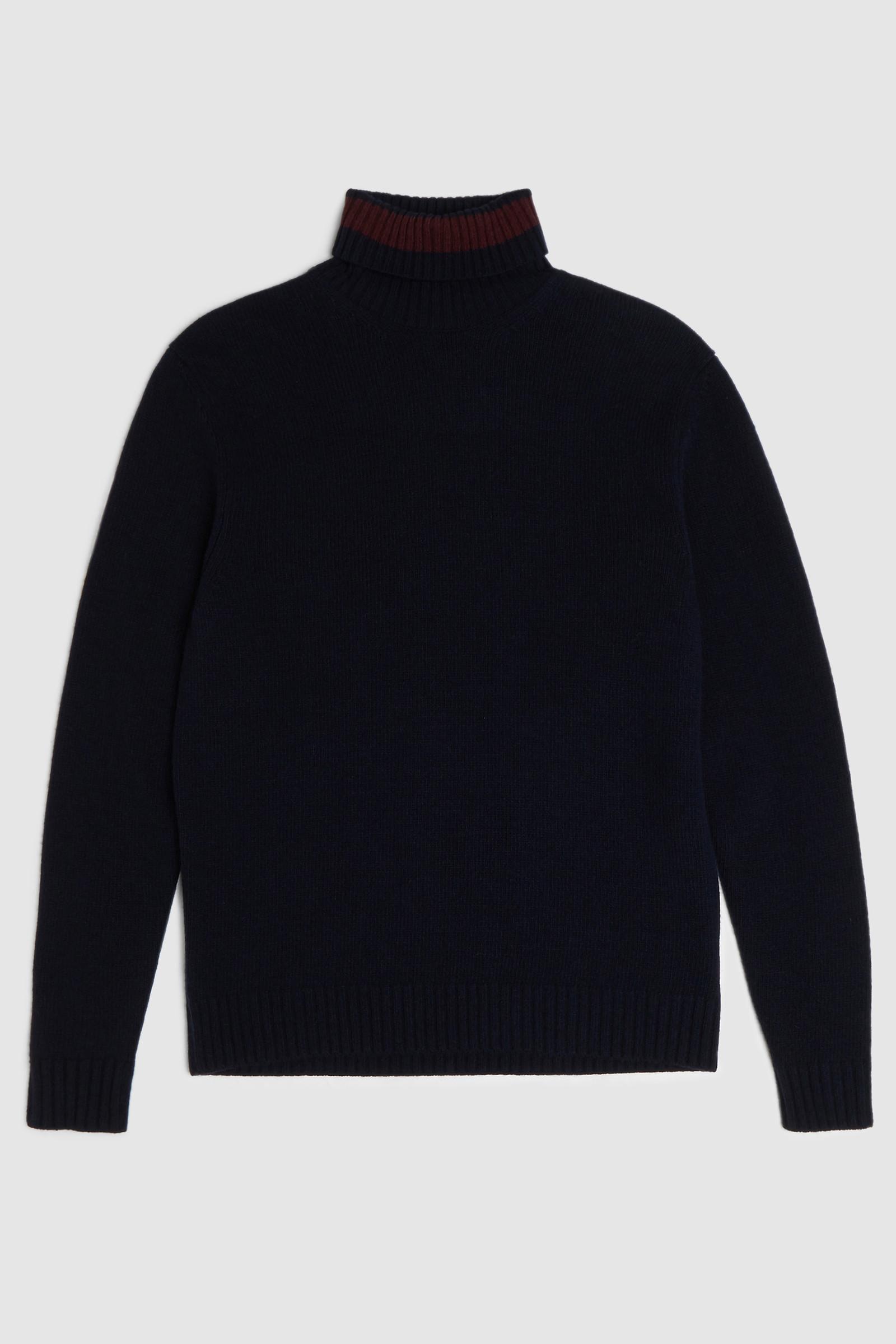 Maglione color-block collo alto in lana