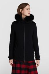 Sweat zippé à capuche en laine et coton