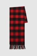 Écharpe en laine mélangée avec motif à carreaux et couleur unie