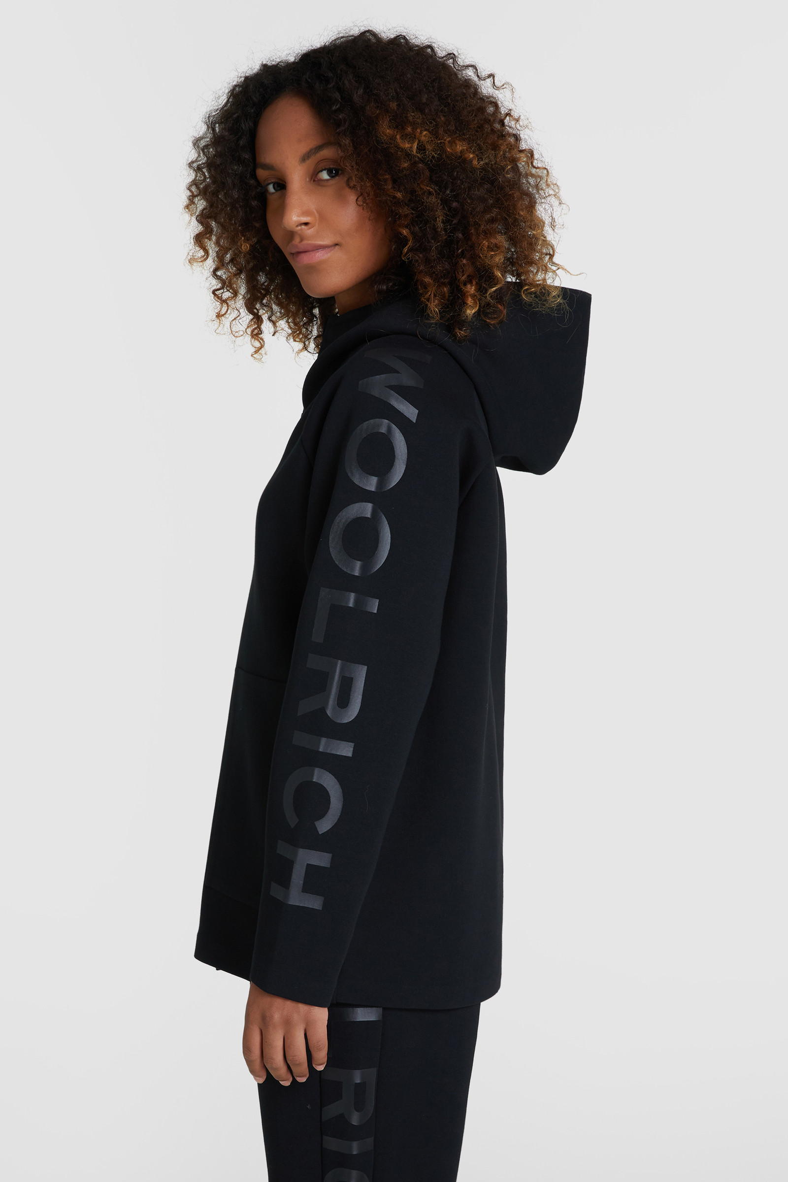 Bonded hoody met capuchon en ritssluiting