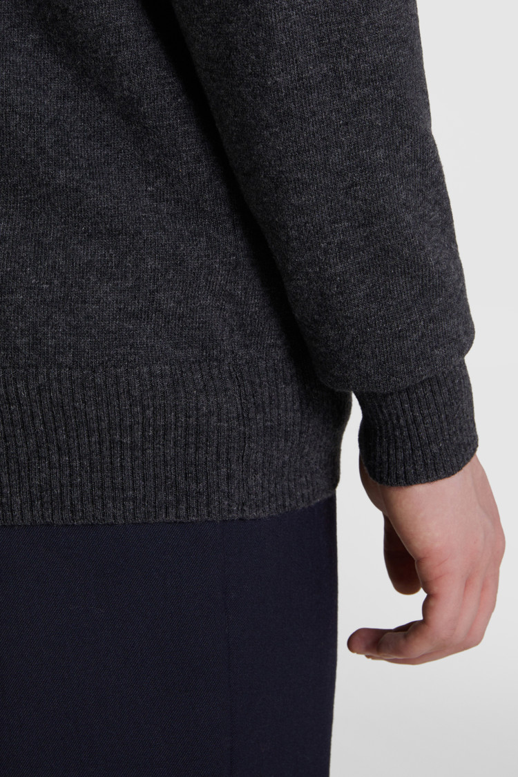 Wollstrickjacke mit Reißverschluss