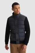 Sweater met volledige rits, gewatteerd en met gebreide mouwen