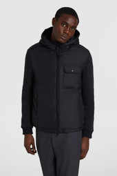 Padded Jacket With Hood And Wool-Cotton Blend Sleeves