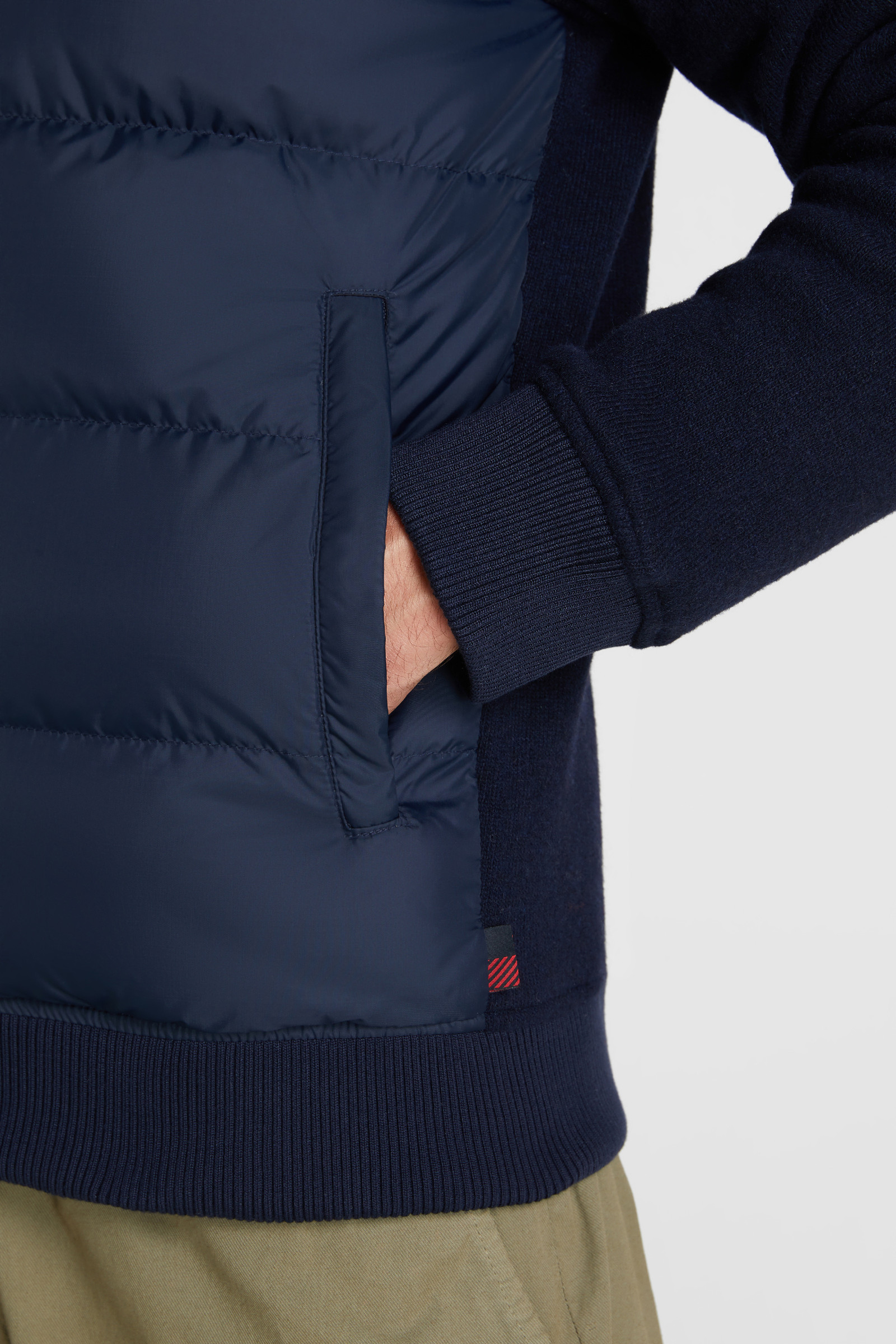 Padded Jacket With Wool-Cotton Blend Sleeves