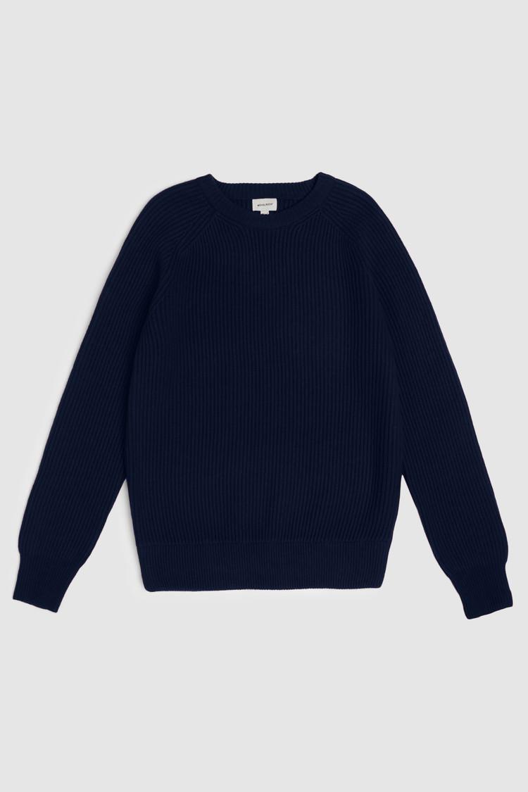 Rib-Stitched Wool Crewneck Sweater