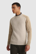 Crewneck color block sweater in pure wool