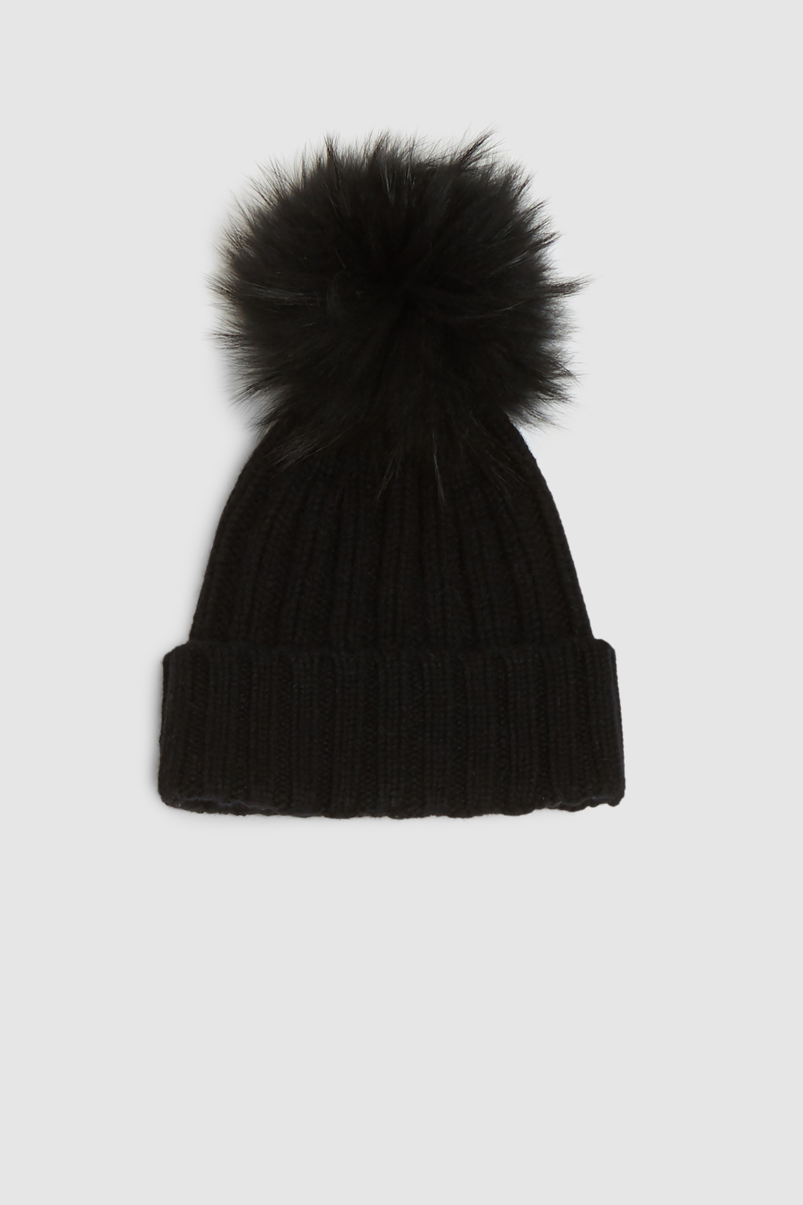 Cashmere Beanie With Racoon Fur Pompom