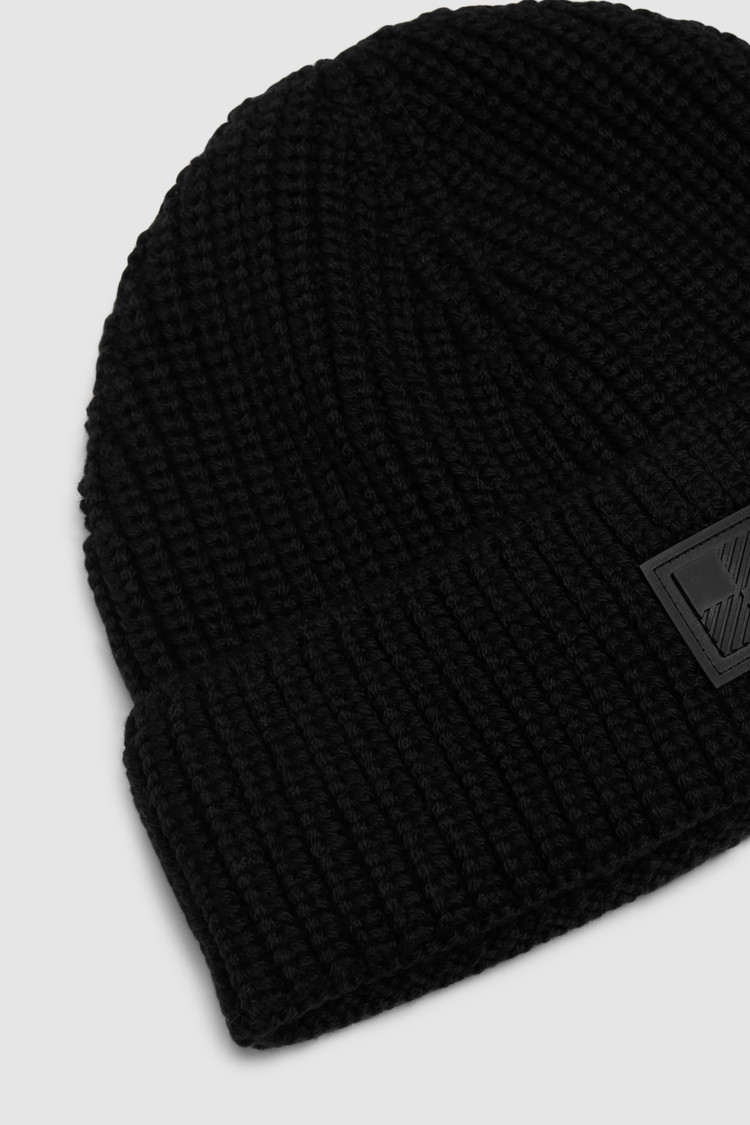 Wool Beanie With Check Logo