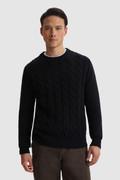 Pullover mit Rundhalsausschnitt aus reiner gewebter Wolle